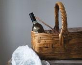 Vintage Picnic Basket, Farmhouse, Knitting Basket, Storage, Cottage Decor, Home and Living, Picnic Hamper