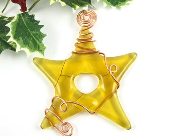 Christmas Ornament - Amber Fused Glass Star - Glass Star Christmas Tree Ornament