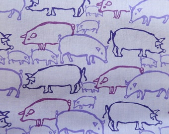 Last piece - Perfect Purple Pigs and Piglets HAND PRINTED fabric