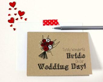 Handmade Wedding Card. Wife Card. Bride Card. Wedding Card. Roses. Bride to Be. Wedding Cards. Wedding Day Card. Brides Card. Wife Card.