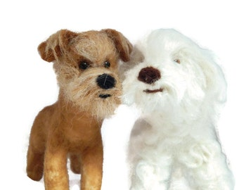 Personalised Wedding cake topper, TWO of your pets recreated for your wedding day. Dog Ring Bearers, needle felted Dog sculpture