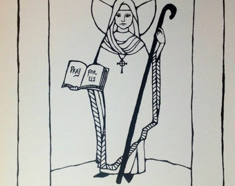 Saint Bridget of Ireland print