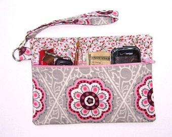 Pink Grey Wristlet, Maroon Floral Clutch, Cream Makeup Bag, Small Floral Purse, Womens Zippered Lined Wallet, Phone Holder