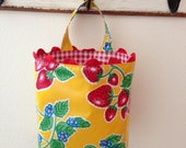 Beth's Yellow Strawberry Oilcloth Car Trash Bag Hanging Receptacle/Storage