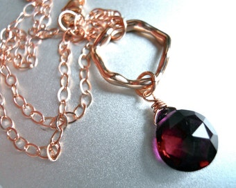 Rhapsody Rhodolite Organic Rose Gold Necklace, Bright Marsala Necklace, Pendant Necklace, Pink Garnet Color, Gemstone Necklace
