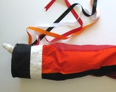 Windsock Made from Vintage Marimekko Fabric - Red Orange Black - Flag // Melooni by Maija Isola