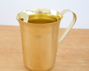 Vintage Aluminum Pitcher •  Gold Color with Ice Lip • Metal Pitcher