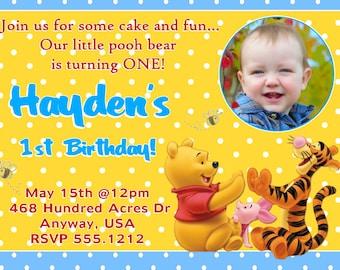 Winnie the Pooh Birthday Invitations, Printable Photo Card, Digital File