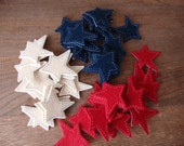 Primitive star stickers red white blue felt fabric embellishments 4th of July  DIY summer party craft supply Country style stars crafts