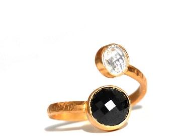 Black and White Zirconium Double Stone Gold Vermeil Ring
