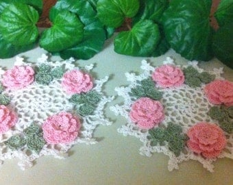 NEW Pink roses crochet doilies to order choose color