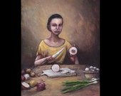 Cromniomancy, Divination by Onions, Original Painting, Superstition, Folk Lore, Fortune Teller, Love Omens, Magic, Kitchen, Food, Surreal