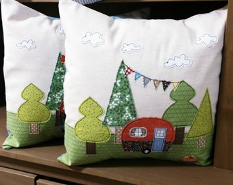 Handmade caravan appliqué cushion cover by mojosewsew in natural linen and cotton.