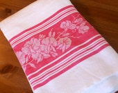 Vintage Cotton Tablecloth, Picnic Tablecloth, Homespun, Red and White, Floral