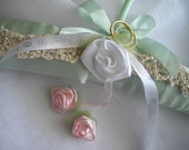 Mint Green Satin Keepsake Bridal Hanger One Of A Kind Special Occasion Pageant  Handmade Crocheted Satin Ribbon Roses Pearls by handcraftusa