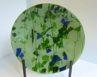 Fused Glass Bowl in Green and Blue