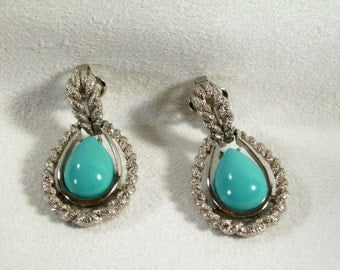 Vintage 70s Avon Faux Turquoise Tear Drop Clip Earrings Frosty Silver Plated Rope Trim
