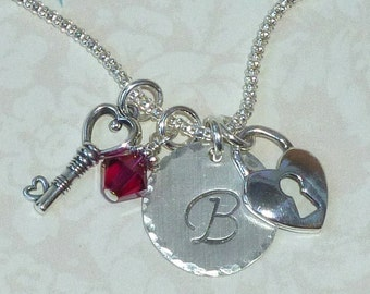 Lock and Key Necklace, Heart Lock and Key Hand Stamped Sterling Silver Initial Charm Necklace