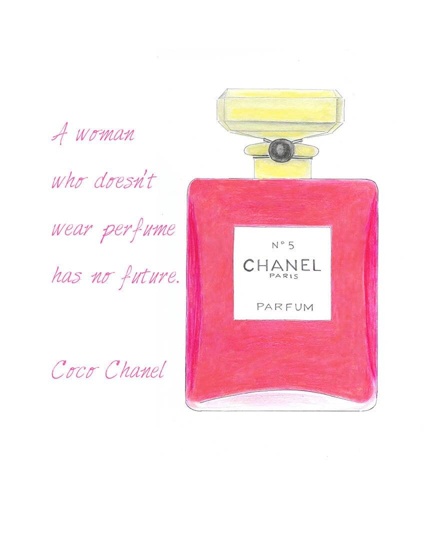 perfume pink bottle fashion illustration print chanel quote