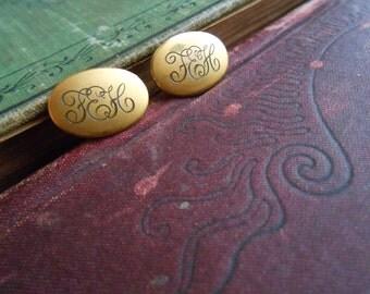 victorian script monogram gold filled cuff links - dapper gentlemen fathers day gift - antique jewelry