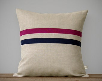 Striped Pillow Cover - Sangria and Navy Blue Stripes (16x16) by JillianReneDecor - Fall Home Decor - Decorative Pillow