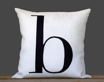 Personalized Initial Pillow | 18x18 | Modern Home Decor by JillianReneDecor | Typography Pillow | Black and White | Navy | Valentine's Day