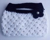 Crochet clutch, hand bag, purse, with flower embellishment.  Pearl button center.