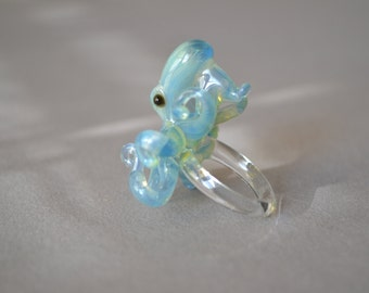 Octopus Ring Blue Pearl Blown glass Octopus jewelry