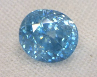 Windex Blue Cambodian Zircon Faceted 8.8x7.9 Oval VS Clarity Gem 4.46 carat