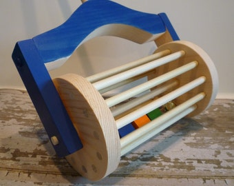 Toy Lawn Mower Wooden Blue - Push Toy - Handcrafted Wooden Blue Lawn Mower Push Toy - Push Mower Wide Based perfect for the toddler