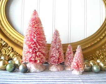 5 Raspberry pink bottle brush Christmas trees vintage style glittered Farmhouse Shabby Cottage Holiday decor