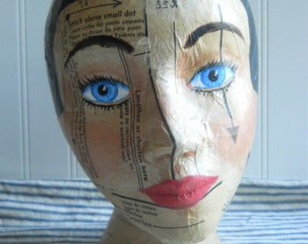 Mannequin Head hat stand black hair mixed media Collage vintage sewing pattern handpainted Altered art Folk art display