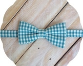 Teal Green Gingham Bow Tie >> Self Tie Classic Pre-tied Mens Boys Baby Adjustable Wedding Easter Gift Birthday Groomsmen Father Son Plaid