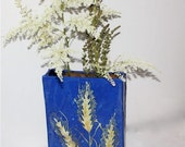 Stoneware Vase in Blue With  Lace Embossed Floral Motif Art Pottery