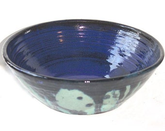 Stoneware Multipurpose Bowl in Cerulean and Cobalt Blues for Mixing or Serving