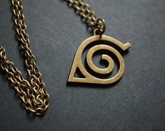 naruto hidden leaf symbol necklace