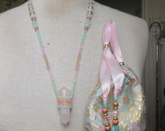 Beaded DoubleTerminated Rose Quartz Crystal Vogel Point Wand Necklace with Amazonite Green Rainbow Quartz Gemstones Extra Large Size