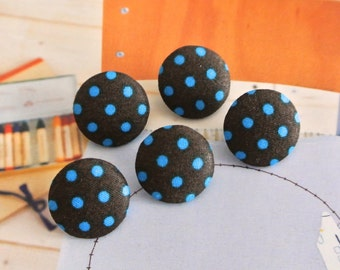 Fabric Buttons, Retro Dark Brown Blue Polka Dots Fabric Covered Buttons, Retro Polka Dots Fridge Magnets, Flat Back, CHOOSE SIZE 5's