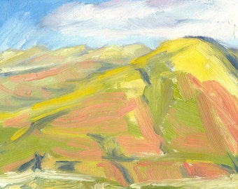 landscape painting oil small canvas 6x8 Hills in Bright Sunlight