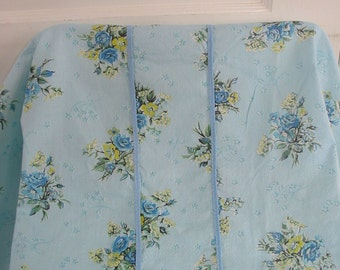 Vintage Bedspread Bedding Blue Floral Summer Lightweight Shabby Cottage Chic Twin Full