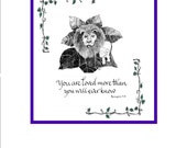 Spiritual Calligraphy Hand Scribed and Pen and Ink Lion and Lamb
