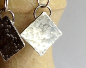 Hammered silver square earrings
