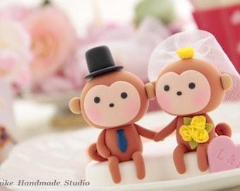 monkey wedding cake topper---k738