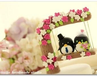 penguin with swing Wedding Cake Topper (K446)