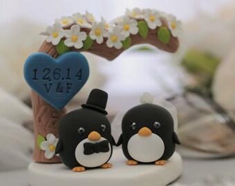 Penguins with love flower tree (K410)