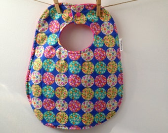 Blue Flowers Baby Bib - Oversize Baby Bib with Snaps