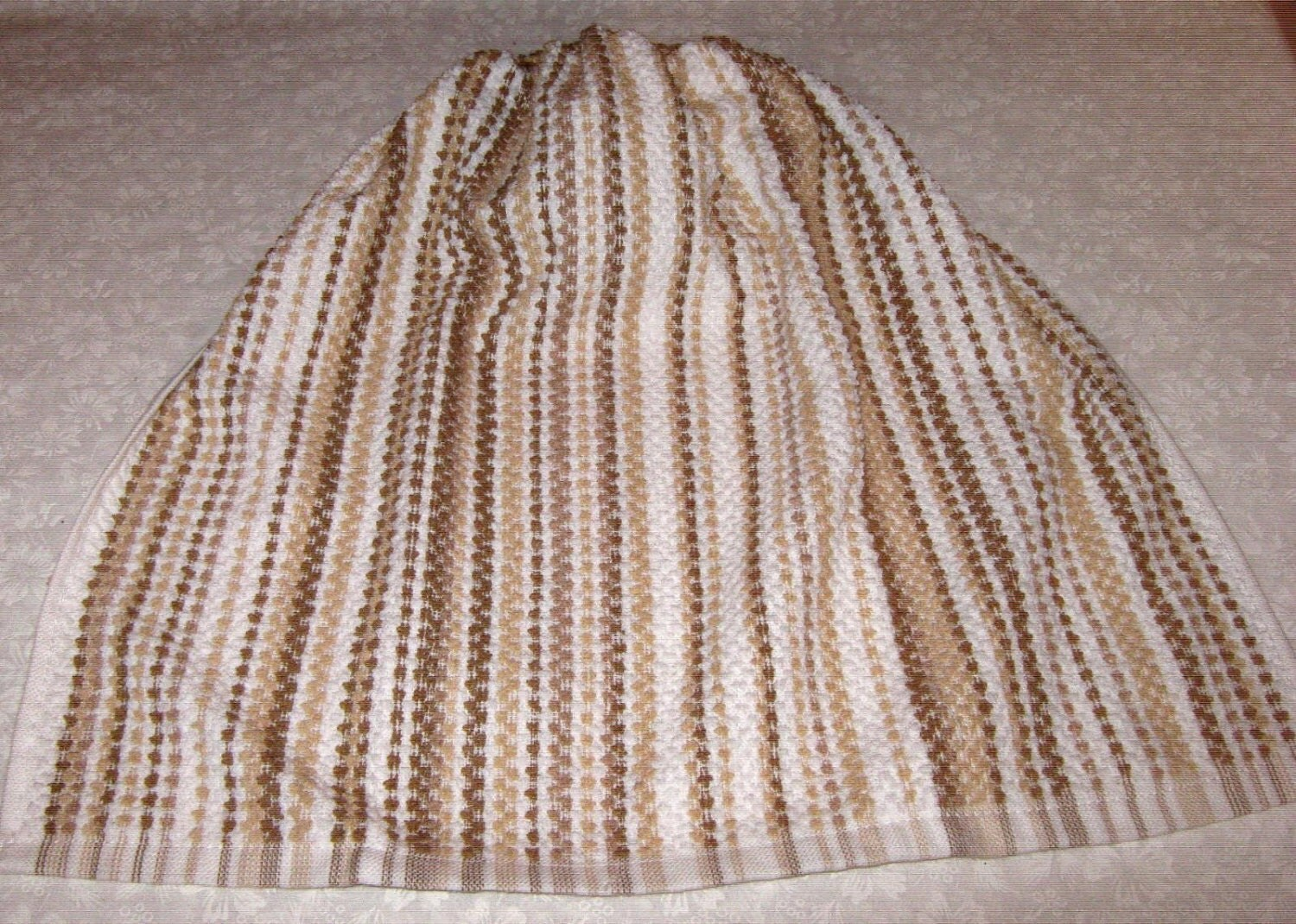 Crochet Kitchen Towel : Crochet Kitchen Hanging Towel white w/ tan and brown stripes
