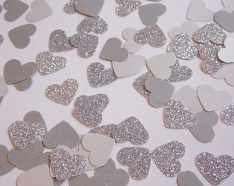 Silver Glitter Heart Confetti, Wedding Reception Decoration, Table Scatter, Paper Confetti, Bridal Shower Decor
