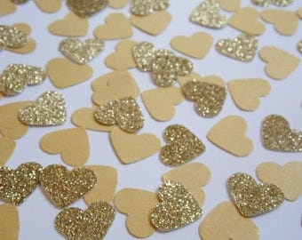 Gold Glitter Heart Confetti, Wedding Reception Decoration, Table Scatter, Paper Confetti, Bridal Shower Decor, 250 pieces