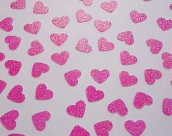 Bright PInk Heart Confetti, Wedding Reception Decoration, Table Scatter, Paper Confetti, Bridal Shower Decor 250 pcs.